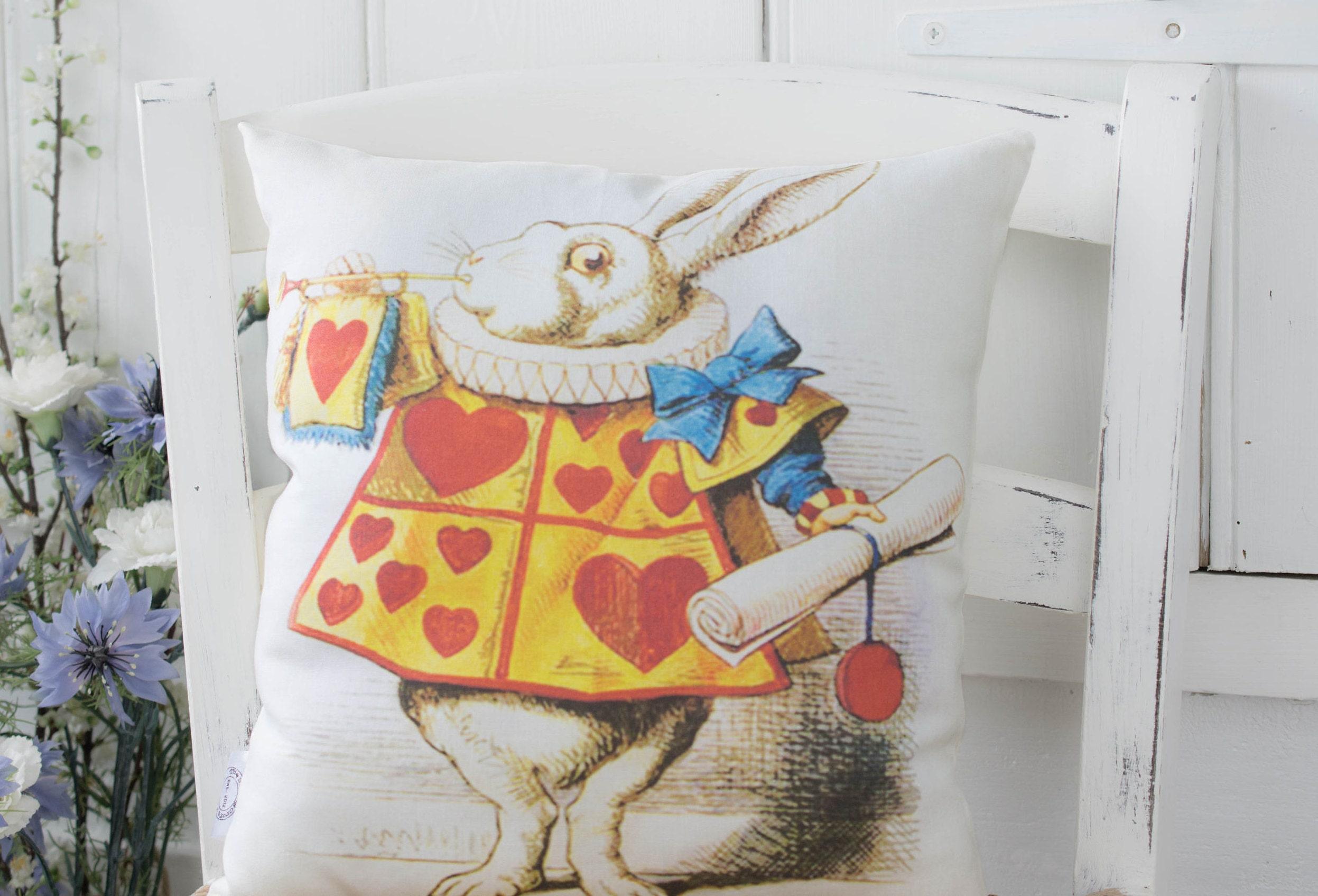 Alice In Wonderland Gift Pillow White Rabbit Illustration