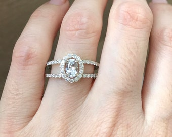 White Sapphire Engagement Ring- Deco Sapphire Promise Ring- Double Band Vintage Ring- Diamond and Sapphire Ring- Split Shank Ring