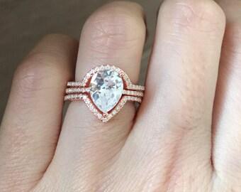 Rose Gold Bridal Set Ring- Pear Shape Engagement Ring Set- Simple Engagement 4 Prong Ring- Solitaire Wedding Ring with Half Eternity Band