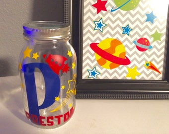 Personalized Piggy Bank - Outer Space Decor, Money Bank, Money Jar, Personalized Gifts