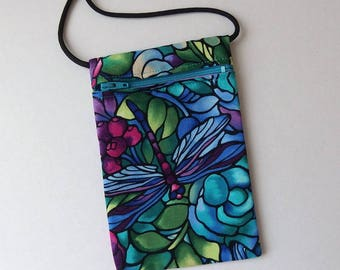 Pouch Zip Bag DRAGONFLY Aqua Fabric.  Great for walkers, markets, travel Cell Phone Pouch. Evening Purse. Stained Glass effect fabric purse