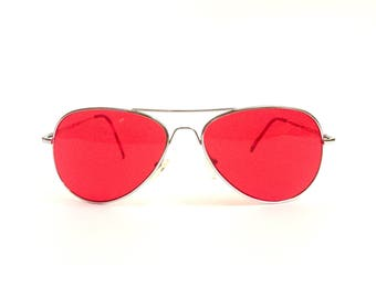 Vintage 90's Red Tinted Aviator Sunglasses