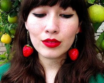 OOAK Glittery Single Strawberry bb Earrings