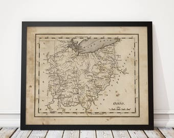 Old Ohio Map Art Print 1816 Antique Map Archival Reproduction