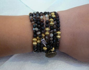 Black Onyx Wrap Around Bracelet