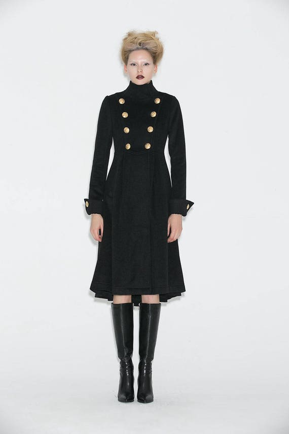Military Coat Brass buttons coat black military coat coats