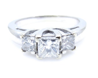 Vintage Engagement Ring - 14k White Gold Three Diamonds Ring - Promise - Vintage Wedding - Size 8.5 - Anniversary # 2320