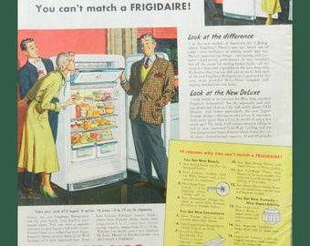 Frigidaire Ad - Vintage Kitchen Wall Art - 1950 Appliance Advertising