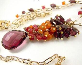 Choker of designer 'Olga' - UNIQUE-semi precious - amethyst //quartz / / cornaline//Rhodolite.vermeil14k.