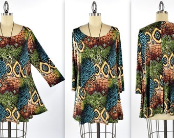 New Exotic Print Tunic, Dare2bstylish Tunic, Travelers Tunic top Small to 3XL. 3/4 sleeves, Plus Top,