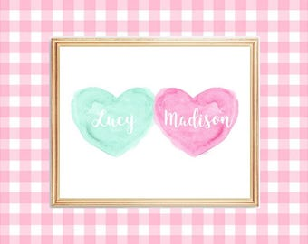 Pink and Mint Green Nursery Print, Sisters Print, 8x10, Pink and Aqua Print, Twin Sisters Gift, Sisters Wall Decor, Pink and Seafoam Green