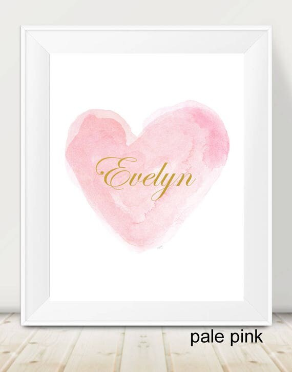 Personalized Baby Gift, Personalized Name in Pink Heart with and Gold, 11x14