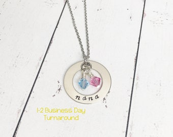 Hand Stamped Nana Necklace - Nana Gift - Grandma Gift - Nana Birthstone Necklace - Grandma Birthstone Necklace - Stamped Grandma Necklace