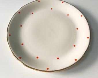 Vintage 1950s Orange Polka Shabby Chic Dot Porcelain Plate