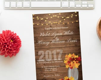 Merveilleux Fall Wedding Invitation | Autumn Wedding Invitation | Wedding Invitations |  Rustic Fall Wedding Invitation |