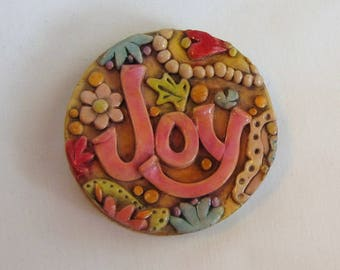 Paisley Joy Magnet, Joy Magnet, Rustic Boho Joy Magnet, Whimsical Paisley Magnet