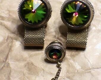 1960s Vintage Dante Rivoli Cufflinks/Tie Tack - Watermelon Rivoli - Signed Set - Mens Jewelry - Wedding - Groom or Groomsmen