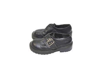 Vintage Chunky Heel Shoes Black Chunky Heel Shoes Black Loafer Shoes Black Buckle Shoes 90s Grunge Lug Soles