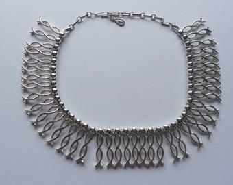 Vintage Coro Silver Tone Wavy Statement Bib Necklace