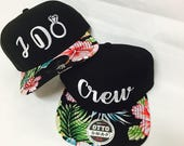 Custom Bride I do and Crew Snapback Combo Hawaiian Floral Hibiscus Multicolor and Black Snap Back. Wedding Present. Bachelorette or Bridal