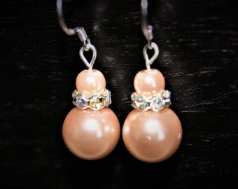 NEW LISTING - Blush Pearl Dangle Earrings with JEWELED rhondelles, topped with a small blush pearl - Womens Earrings - wedding - bridesmaid