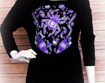 Witching Hour Graphic 3/4 Sleeve Wide Neck Sweatshirt Pastel Goth Fairy Kei