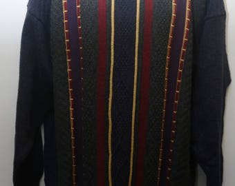 "Rare 90's Vintage ""TRICOT MARINE"" Coogi Style Abstract Patterned Multicolor Sweater Sz: X-LARGE (Men's Exclusive)"