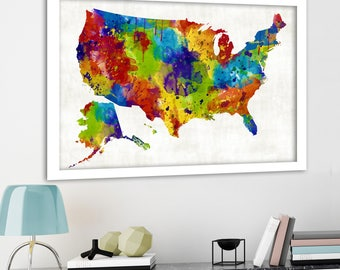 Bright rainbow color united states map US map canvas Family