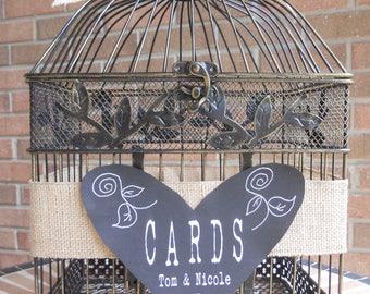 Wedding Money Holder, Burlap Wedding Supplies, Card Holder, Wedding Bird Cage Money Box, Chalkboard, Wedding Supplies Birdcage Personalized