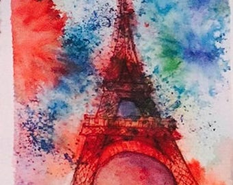 Eiffel Tower in vibrant watercolor!!! Original painting