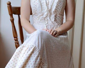 Vintage rose print Gunne sax prairie dress 70's romantic lace frill mod swing 60's 50's bodice cotton summer bohemian