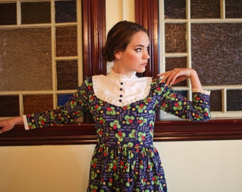 60's 70's Apple Mini Dress With Lace