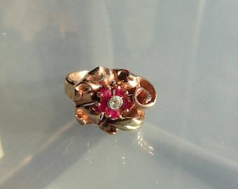 14K Retro Ruby Diamond Ring  Pink Yellow Gold Size 6.5