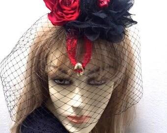 Day of the Dead Headpiece, Halloween Fascinator, Dia de Los Muertos, Sugar Skull Headpiece