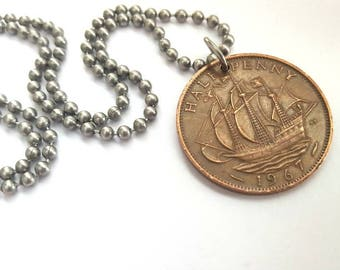 1967 Half Penny Necklace  - copper coin with ship - Stainless Steel Ball Chain or Key-chain