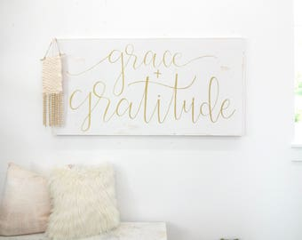 XL grace and gratitude gold and white rustic wood sign