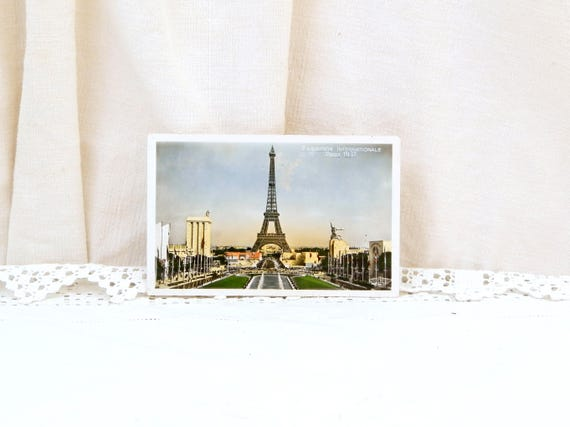 Vintage French Color 1930s Postcard of the Eiffel Tower and the International Exhibition in 1937 in Paris France, Art Deco Architecture
