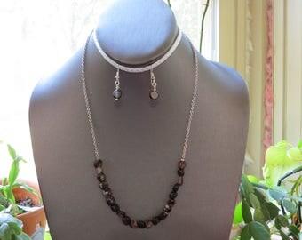 "Sardonyx Jewelry Set. Sardonyx Nugget Necklace  Sardonyx Earrings. Dainty Chain Necklace 20 3/4"". Stone of Strength and Protection  396SNE"