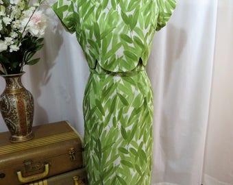 1950's Foliage print wiggle dress.