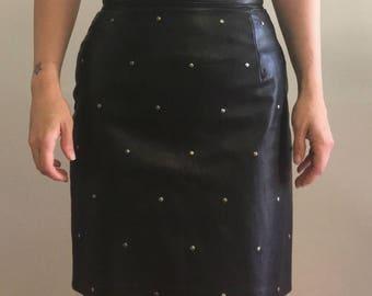 Badass Vintage Danier Genuine Leather Studded Skirt Size 6