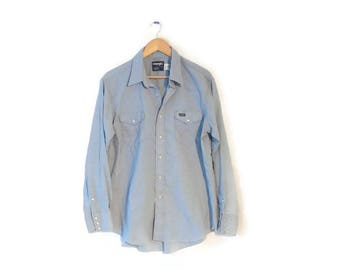 Wrangler Jean Chambray Western shirt size L/XL 17 35 X-tra Long Tails Mens Pearl Snap