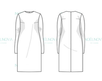 Shift Dress Block with Tailored Sleeves PDF Sewing Pattern