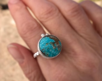 Round Genuine Turquoise Ring Sterling , Mexican Compass Turquoise, Spring Music Festival Jewelry, Perfect Birthday Gift For Daughter, Size 8