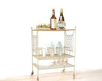 Mid Century Record Stand, Rolling Cart, Bar Cart, Vintage Gold Metal Three Tier Cart