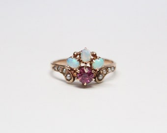RESERVED for Lydia - Victorian 10k Rose Gold, Blue Opal, Garnet, and Seed Pearl Ring