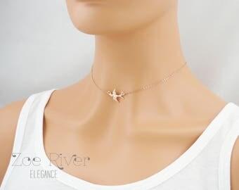 Choose rose gold, silver or gold dainty bird choker necklace. Flying bird choker short necklace