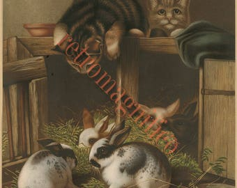 Cute Victorian Cat and kittens with rabbits image from 1800's digital download art print, for framing, collage, mixed media, altered art,