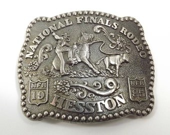 National Finals Rodeo 1985 Hesston Commemorative Belt Buckle Third Edition Anniversary Series