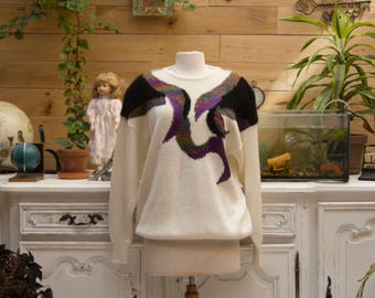 Vintage 1980's White Sweater with Angora Design