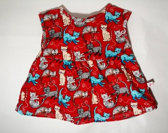 Baby Girl Bow Tied Red Kitty Shirt Dress